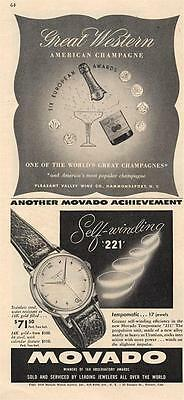 1950 TWO ADs Great Western Champagnes  & Movado Self-Winding Watch  PRINT AD