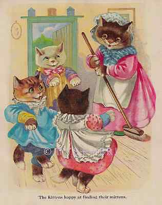 Happy Three Little Kittens-ANTIQUE Vintage COLOR Art PRINT-Nursery Rhyme Picture