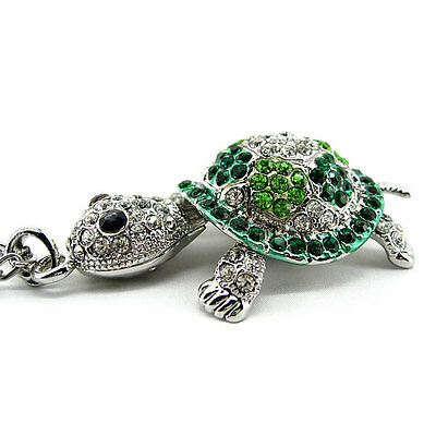 Super Lovely Green Tortoise Turtle Animal Czech Crystal Necklace