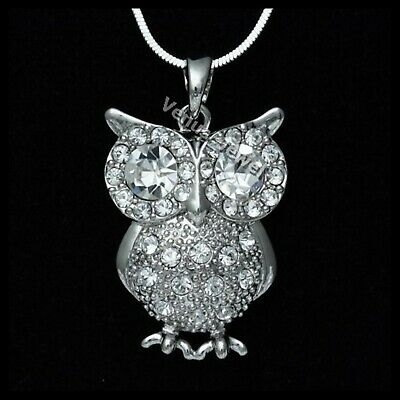 Clear Rhinestone Crystal Owl Pendant Necklace P120