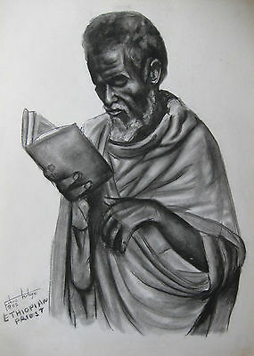Large Priest Portrait Sketch Addis Ababba Ethiopia