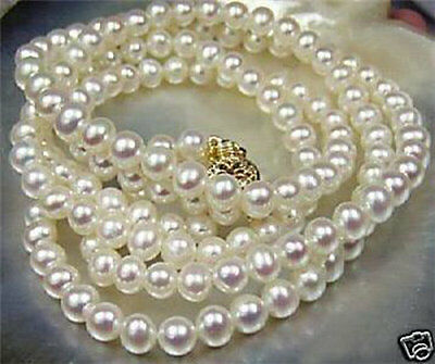 Beautiful!8-9mm White Akoya Cultured Pearl Necklace 36""