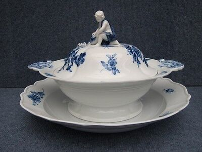 Meissen Soup Tureen & plate decorated with German Flowers Blue white 1850-1890