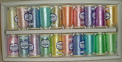 Marathon Embroidery Machine Thread Rayon 20 x 1,000m Spools Pastel Shades