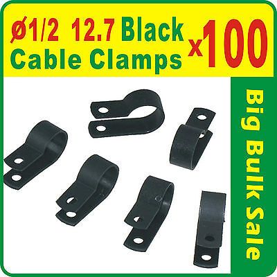100 x UC3B 1/2'' 12.7mm Black Nylon Cable Clamps