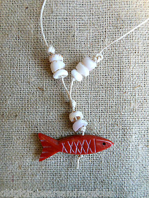 Gemstone Red Fish Pendant Necklace for Bear or Doll