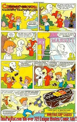 Hostess Cup Cakes: Casper Ends a Spell with Wendy: Great Original Comic Print Ad