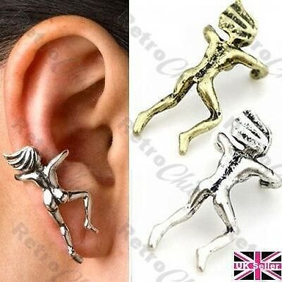 QUIRKY CLIMBING WOMAN EAR CUFF naked climber man earcuff VINTAGE BRASS/SILVER PL