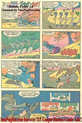 Hostess Fruit Pies: Road Runner in Treat or Eat w/ Wile E. Coyote Comic Print Ad