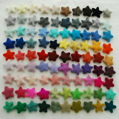 100% Wool Felt Stars - 10 Felted Stars - 90 Colours to choose