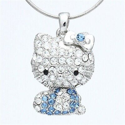 Blue Clear Rhinestone Crystal Hello Kitty Doll Pendant Necklace P696