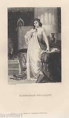 Cleopatra Soliloquy-Nude-Egyptian Queen-Breast-1800's ANTIQUE VINTAGE ART PRINT