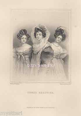 Three Beauties-Graces-Lovely Victorian Women-1800's ANTIQUE VINTAGE ART PRINT
