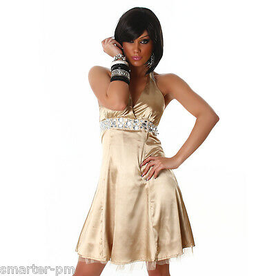 Sexy Wow Kleid Satin Strass Abendkleid Cocktailkleid Gold  Neckholder Abiball