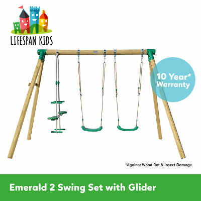 Lifespan New Kids Outdoor Toy Wooden Swing Set Emerald