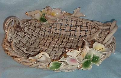 Big Capodimonte Italy 18 in Basketweave & Flowers Handled Centerpiece Bowl