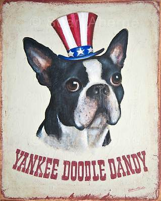 Boston Terrier Dog Shabby Chic Wooden Sign Plaque Print Picture Painting Art