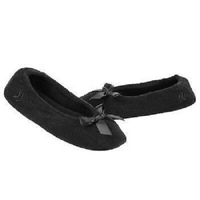 Ladies Isotoner Black Terry Ballet Style Slippers NEW Sturdy sole