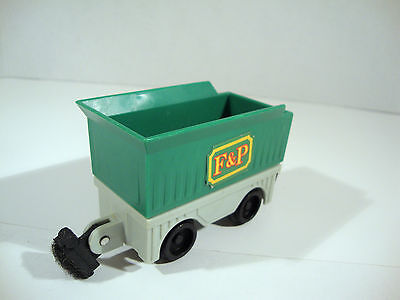 Rare Fisher Price 1989 Green Open Train Cargo Cart Kid Powered Working Toy Model