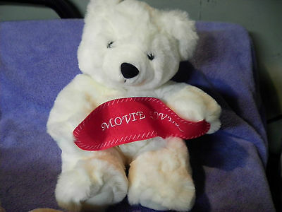 """BEVERLY HILLS PLUSH WHITE TEDDY BEAR WITH BANNER MOVIE LOVER 13""""  VGC CUTE"""
