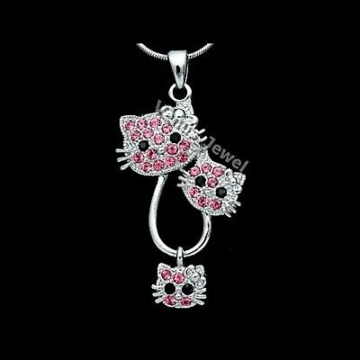 Pink Rhinestone Crystal Hello Kitty Pendant Necklace P219