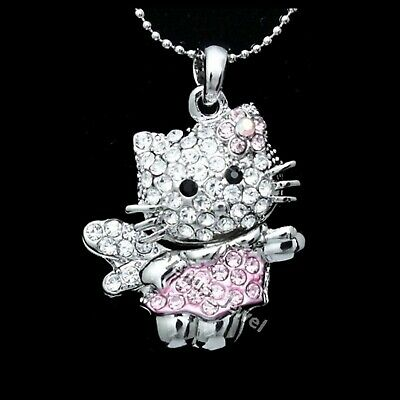 Pink Hello Kitty Fairy Crystal Pendant Necklace P322