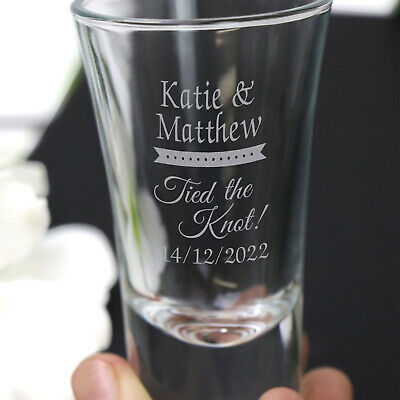 Engraved 40ml Shot Glass Wedding Favour Gift Birthday Hens Bucks Personalised