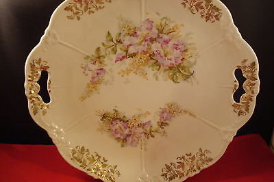 """Unmarked molded German tray, 10"""", 2 handles, flowers and gold [#55]"""