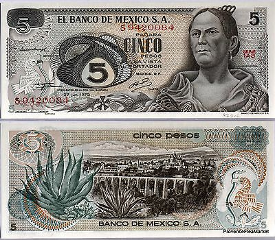 MEXIQUE billet neuf de 5 PESOS Pick62C  QUERETARO ALOES  1972