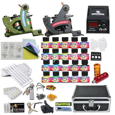 Complete Tattoo Kit 2 Machine Gun Set Equipment Power Supply UK Color Ink 10-24