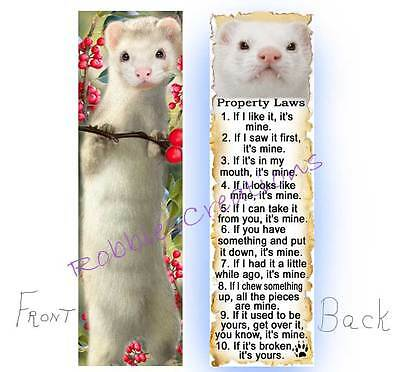 White FERRET BOOKMARK Pet RULES Property LAW Book Mark Card ART Figurine Gift