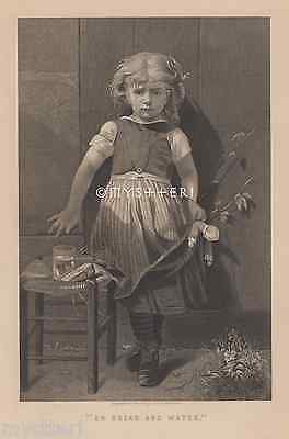 On Bread & Water-Little Girl-Victorian Picture-1800's ANTIQUE VINTAGE ART PRINT