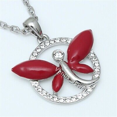 Indian Red Dragonfly Peace Crystal Pendant Necklace P350