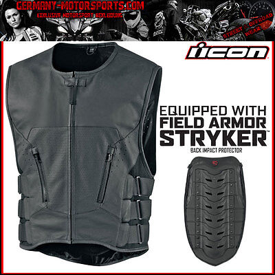 Icon Regulator Stripped Vest Leder Weste Motorrad Chopper Custom Bike Harley Xl