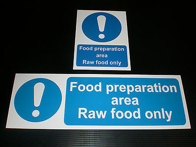 FOOD PREPARATION AREA RAW FOOD ONLY Sign Plastic Sticker & Holed Hygiene Kitchen