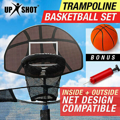 NEW Trampoline Basketball Hoop Ring Backboard Ball Set Fits 10/12/14/15/16 ft