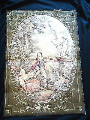 ANT FRENCH TAPESTRIES PAIR FROM ESTATE - ELEGANT FABULOUS 13 x 27 MUTED COLORS