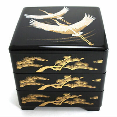 Japanese Lacquer Stack Candy Bento Box 3-Tiers Longevity Cranes, Made in Japan