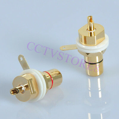 4pcs 24K Gold Copper RCA Jack Terminal Female Chassis HIFI Audio Connector Amp