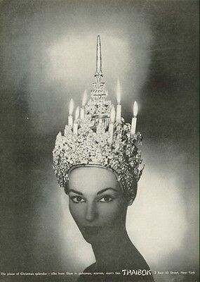 1955 THAIBOK Woman's Fashion headpiece PRINT AD