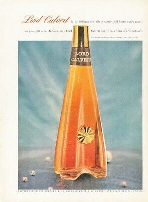 1955 Lord Calvert Whisky Vintage Gift Decanter Bottle PRINT AD