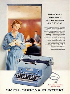 "1957 Smith-Corona Electric Typewriter Featuring ""Half Spacing""  PRINT AD"