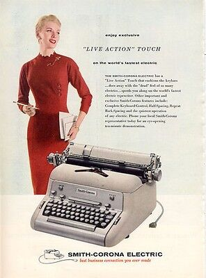 1956 Smith-Corona Electric Typewriter Live action Touch PRINT AD