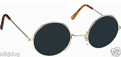 John Lennon Sunglasses Round Shades Gold Frame Black Lenses Retro
