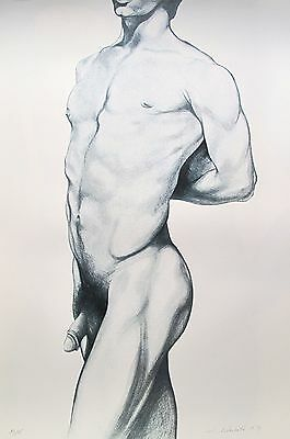 LOWELL NESBITT Hand Signed 1979 Lithograph ANGELO MALE NUDE