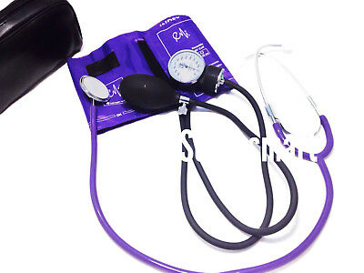 BP Blood Pressure Cuff Monitor +  Economy Stethoscope Set Kit- Color PUPRLE #300