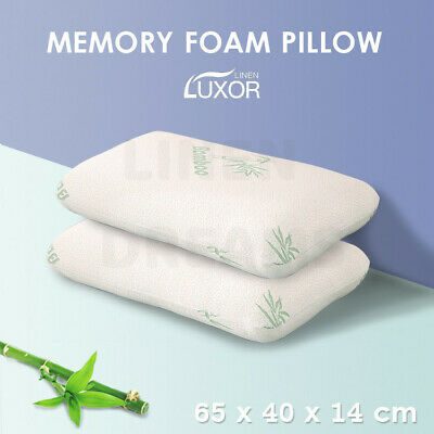 2x High Density Memory Foam Bamboo Fabric Fibre Cover Standard Pillow 65 x 40cm