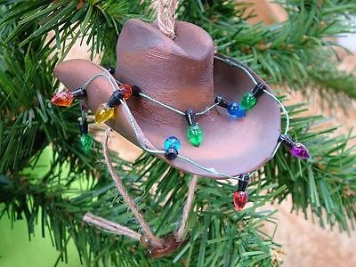 New Decorated Brown Cowboy Hat Rodeo Western Ornament