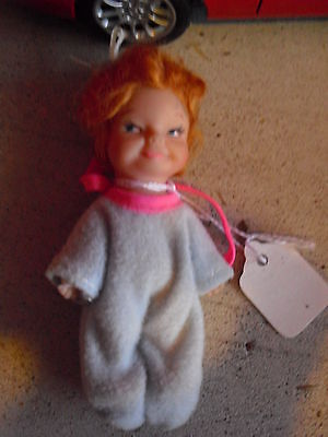 "Vintage 1960s One Piece Vinyl Red Head Baby Girl Doll 3 3/4"" Tall"