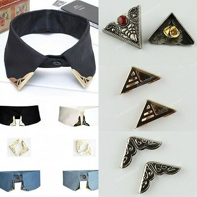 New Collar Clip Rock Punk Vintage Metallic Blouse Shirt Metal Wing Tips 1Pair